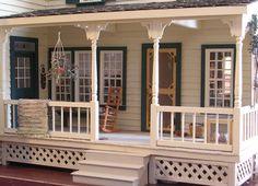 Idea for Miniature Dollhouse Front Porch  - I like the lattice on the bottom.
