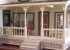Idea for Miniature Dollhouse Front Porch  - I like the lattice on the bottom.