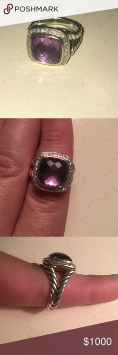 Authentic David Yurman Ring Gorgeous authentic amethyst David Yurman ring. Beautiful 11 mm amethyst surrounded by diamonds. Brand new. Barely worn. David Yurman Jewelry Rings