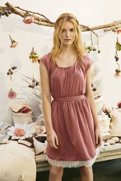 LC Lauren Conrad Lace Pleated Fit & Flare Dress in Rose   Available now at Kohl's