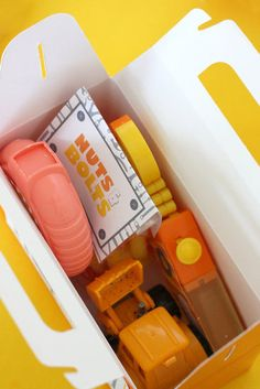 """Construction Birthday Party. A Tool Box favor loaded with candy """"tools""""."""