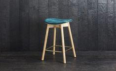 1. Sim-Ply Kitchen Stool 650 - Upholstered Seat - Ash Natural - Chamonix Emerald