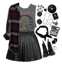 """""""salluy"""" by britland-hall ❤ liked on Polyvore featuring Dr. Martens, Boohoo, Chaser, Alice In The Eve, Rails, Peace By Piece, Polaroid, DrMartens, grunge and plaid"""