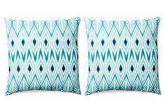 S/2 Ikat 20x20 Outdoor Pillow, Teal on OneKingsLane.com