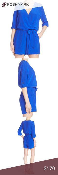 """🆕 Charlie Jade Cobalt Blue 100% Silk Romper A vibrant, cobalt-blue hue enlivens this stunningbasic silk romper designed to flatter. * 34"""" length; 3"""" inseam; 13"""" front rise; 16"""" back rise (size Medium). * Pull-on style with front snap-button closure. * Roll-tab cuffed sleeves; can be worn down or rolled up * Elastic waist; removable sash * Front slant pockets * Lightweight, nonstretch * Lined shorts * 100% silk Model is 5'11"""" and wearing size Small. Charlie Jade Pants Jumpsuits & Rompers"""