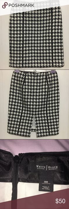 """WHBM pencil skirt - excellent condition Only worn a couple times, in excellent condition!  White House Black Market fully lined pencil skirt with hidden back zipper and hook-eye closure. 20"""" from top to bottom hem, 7"""" back slit, 13.5"""" across from side seam to side seam. Size 00. Skirts Pencil"""
