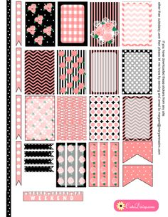 FREE Printable Shabby Chic Stickers in Black and Pink for Happy Planner and ECLP [ in 6 Colors ]
