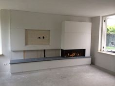 Hoekhaard with shelf and tv in preparation for - Home Fireplace, House Interior, Home Living Room, Snug Room, Home, Family Room, Fireplace Wall, Living Room With Fireplace, Living Room Tv Wall