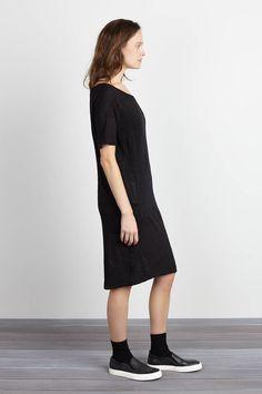 Tie Up Dress - Black Linen | Emerson Fry