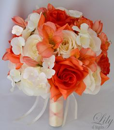 """17pcs Bridal Bouquets Wedding Silk Flower Decoration Package CORAL IVORY ORANGE """"Lily of Angeles"""""""