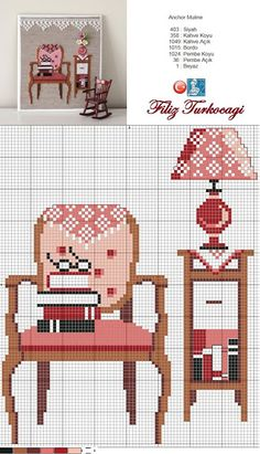 Home pattern designed by Filiz Türkocağı Cross Stitch House, Cross Stitch Kitchen, Cross Stitch Needles, Modern Cross Stitch, Cross Stitch Bookmarks, Cross Stitch Charts, Cross Stitch Designs, Cross Stitch Patterns, Cross Stitching
