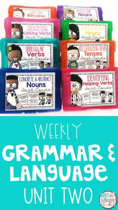 This grammar bundle includes activities for each day of the week for eight weeks! Topics covered include: abstract nouns, common and proper nouns,possessive nouns, verb tenses, helping verbs and linking verbs. The units include interactive notebook activities, mini lessons, task cards and assessments.