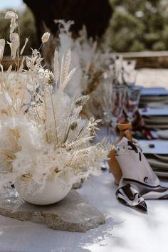 boho-style lunaria and pampas grass table arrangements Floral Wedding Decorations, Floral Centerpieces, Wedding Flowers, Destination Wedding Inspiration, Destination Wedding Photographer, Wedding Ideas, Mediterranean Wedding, Greece Wedding, Documentary Wedding Photography