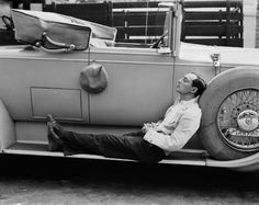 Buster on the running board. Keaton, late 1920s.