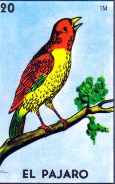 Tu me traes a puros brincos, como pájaro en la rama. Mexican loteria card: el pajaro
