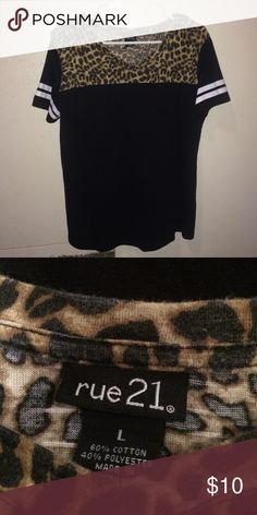 rue21 black Leopard shirt Brand name rue21 t-shirt hardly worn size large. Great condition just doesn't fit anymore. Rue 21 Tops Tees - Short Sleeve