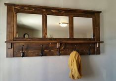 Brown Wooden Wall Coat Shefl And Hanger With Mirror And Having Black Iron Hook As Well As Wall Coat Rack With Shelf Patterns Also Coat Cabinet