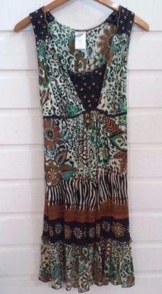 Bila Forbidden Clothing Co.Womens Size Large Boho Hippy Bohemian Dress EUC #BilaFordidden #BeachDressEmpireWaistBohoHippieTieback #CasualBeach