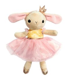 Soft toy in velour including removable dress with Velcro fasteners. Polyester fill. Height 9 3/4 in.