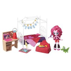 Ready for the ultimate slumber party? Pinkie Pie can't wait to throw a sleepover party at her house. It's time for sleepover fun with this My Little Pony Equestria Girls Minis Pinkie Pie Slumber Party Bedroom Set! Imagine a slumber party and plan the perfect night in with this cute, poseable Pinkie Pie mini-doll and her sleepover accessories. This set includes a bed, chair, and fun accessories to set the scene for a slumber party. <br><br>My Little Pony, Equestria Girls and all related…