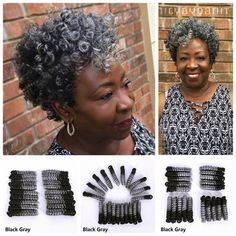 Wish | 10&20 Inch Gray Synthetic Hair Extensions Spiral Curls Crochet Braids Ready for Installation, Pre Curled Spirals Made of 100% Kanekalon Hair