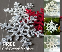 free crochet snowflake pattern collage