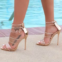 Women's Style Gladiator Sandals Champagne Gladiator Sandals Stilettos High Heels Fall Outfits 2017 Fall Fashion Trends 2017 Fall Wedding Dress Shoes 2017 Halloween Costumes Outfits Fall Prom Dress Shoes for Party, Date High Heels Boots, High Heels Stilettos, Stiletto Heels, Shoe Boots, Shoes Heels, Sandal Heels, Heeled Sandals, Sandals Outfit, Dress Shoes