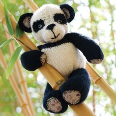 Knitted Toy Kit for Penny the Panda includes the pattern, yarn, and knitting needles. | InterweaveStore.com
