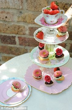 Another tall cake stand made with vintage plates and goblets...