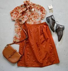 OUTFIT! A vintage tie blouse and woodgrain midi skirt, with a vintage Dooney & Bourke messenger bag, ankle boots, and handmade quartz earrings by Chelsea Ray Lea.