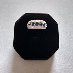Vintage Simulated Sapphire and CZ Band Ring by YanaMisiTreasures