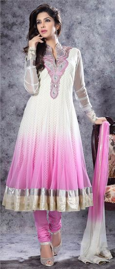Off #White and #Pink Net Readymade #Churidar Suit @ $ 127.73