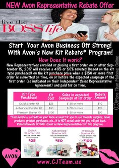 $$ #Start Your #Avon Business Off Strong!  Earn 40% - 50% rebate on your Avon starter kit when you join Avon! Become and #Avon Rep TODAY! Serious Beauty Bosses Wanted. Join Avon Today. Looking for a National Avon Recruiter to partner with? We can help! #Avon #JoinAvon #CJTeam #BeautyBoss #AvonRep #WorktheWayYouWant #becomeanavonrep #joinavon #sahm #BeautyLovers #C24 Buy Avon Online @ www.TheCJTeam.com Sell Avon Online @ www.CJTeam.us