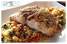 Red Snapper & Couscous: sauté butter, red pepper flakes, Worcester sauce, salt, pepper, parsley and chives. Add breadcrumbs. Spoon entire mixture over snapper and bake at 400 for 20 min. Serve over couscous mixed with fresh kale and sweet red peppers :-)