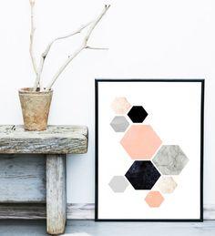 Arte geométrico Arte PARED geométrica hexágono por exileprinted                                                                                                                                                                                 Más