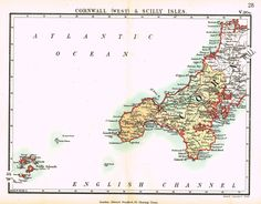 "Stanford's G.B. County Map - ""CORNWALL"" - Chromo - 1885"