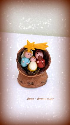 Handmade Nativity scene in walnut shell, christmas ornament with holy family, modern christmas nativity, miniature nativity for family gift – Hobbies paining body for kids and adult Diy Christmas Gifts For Family, Modern Christmas, Family Gifts, Christmas Crafts, Christmas Decorations, Walnut Shell Crafts, Christmas Nativity, Christmas Ornaments, Clay Crafts