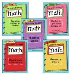 Common Core Interactive Math Noteboooks for 3rd, 4th, & 5th at Create●Teach●Share