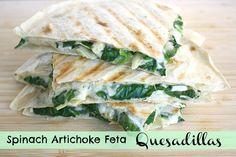 Spinach Artichoke Feta Quesadillas