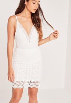 Missguided - Floral Lace Mini Skirt White