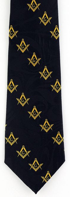 Masonic Triangles Mens Necktie Freemason Mason Square Compass Black Neck Tie