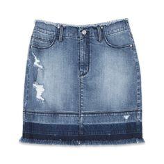 Release Hem Denim Skirt ($98) ❤ liked on Polyvore featuring skirts, mini skirts, denim, blue mini skirt, short skirts, bebe skirts, blue skirt and blue denim skirt