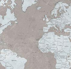 World map canvas print vintage light wall art mint turquoise world map canvas print vintage taupe light blue by natalyborichart gumiabroncs Image collections