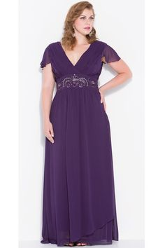 Nox Nariana W272 Wide Waist Plus Size Dress. Capped sleeve, V-neck, ruche top. Waist is gathered by beaded-embroidered band, long chiffon gown. Chat with us at http://messenger.providesupport.com/messenger/therosedress.html?ps_s=4bE8rspYpohy
