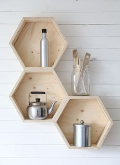 honeycomb hexagon beehive design shelves for kitchen , work space storage contemporary scandi style country chic decor