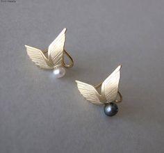 14k Gold Wings Ear Cuff solid gold ear cuff wing ear cuff