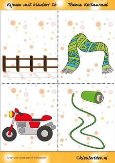 Rijmen 2b met kleuters, thema restaurant, juf Petra van kleuteridee.nl, free printable. Farm Projects, Abc For Kids, Bible Stories, Pre School, Card Games, Classroom, Kids Rugs, Diy, Math