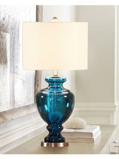 Blue Glass Trophy Base Table Lamp With Linen Shade