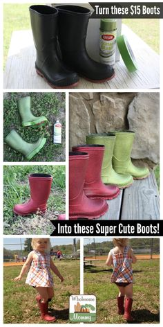 You can paint rubber boots with valspar duramax paint you can get diy turn cheap chore boots into cute rainboots from wholesomemommy solutioingenieria Choice Image