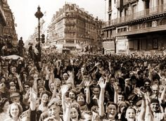 Joy in the streets of Paris after liberation. 1945
